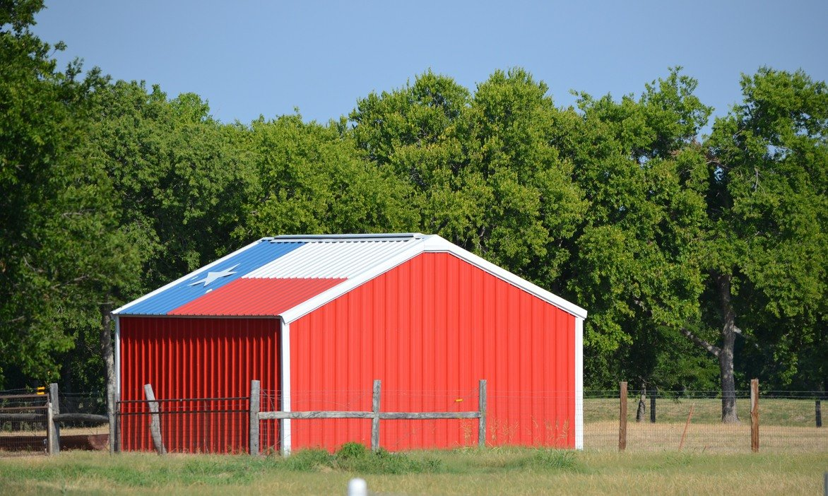 neatly painted shed